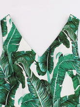 Load image into Gallery viewer,  V Neck Palm Tree Print 1950s Vintage Dress