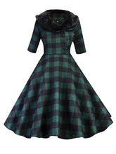 Load image into Gallery viewer, Elegant With Fur Collar Plaid Half Sleeve Vintage Dress