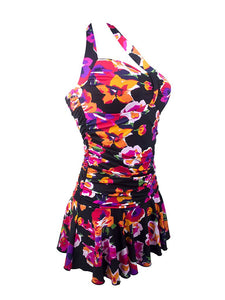 Floral Print Halter Backless Retro Style One Piece Swimwear