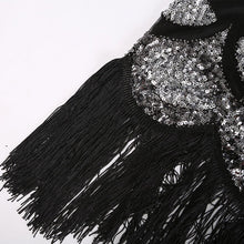 Load image into Gallery viewer, Flapper 1920S Black Sequin Fringed Dress