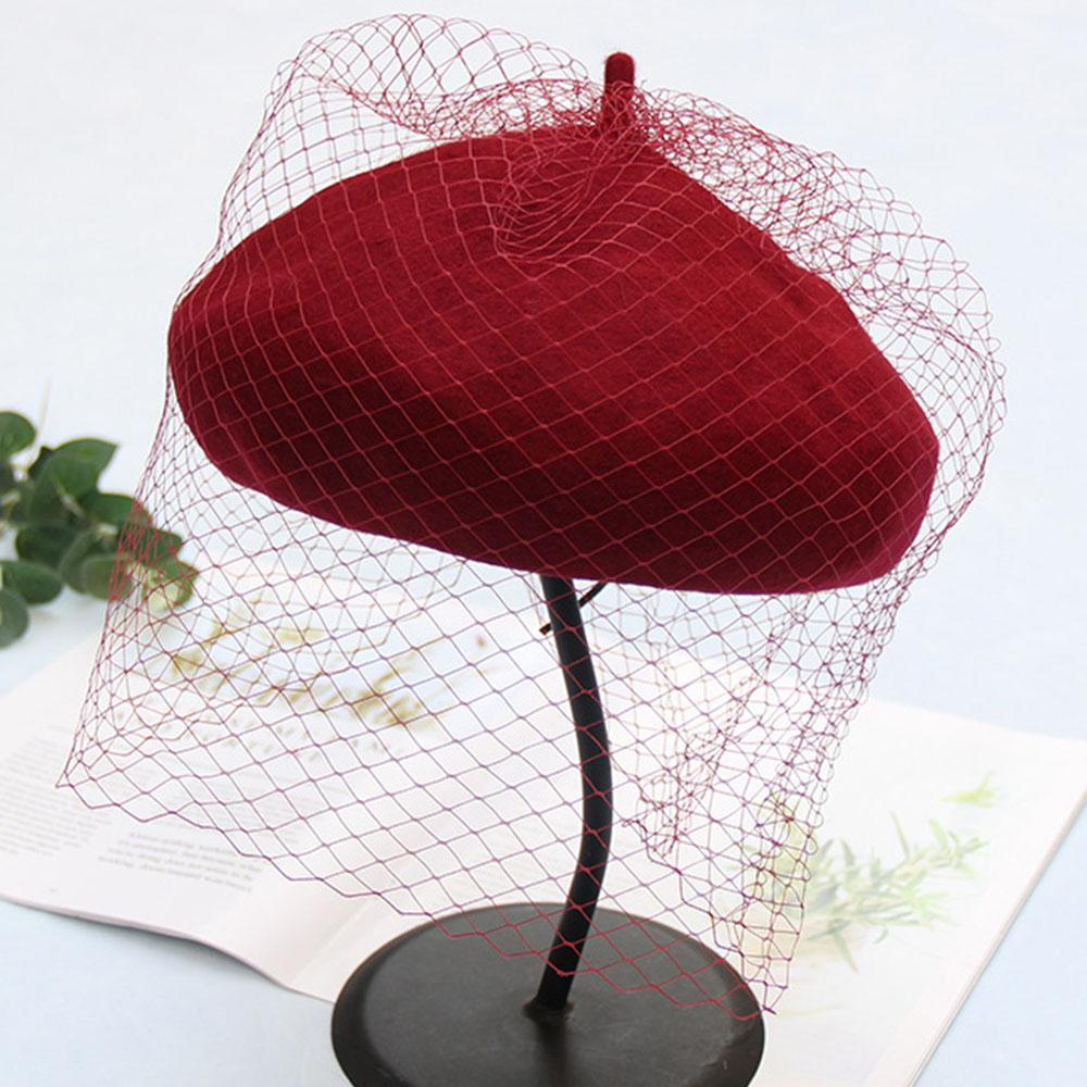 Wool Felt Beret Hat Cap With Longer Veil