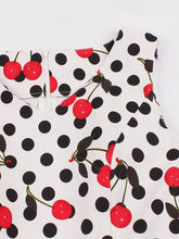 Load image into Gallery viewer, White 1950s Polka Dot Cherry Print Swing Dress