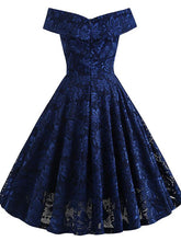 Load image into Gallery viewer, Off Shoulder 1950S Lace Vintage Dress