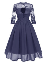 Load image into Gallery viewer, Stand Collar Embroidered Vintage Dress