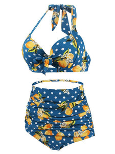 Retro Style Floral Solid Background Two Pieces Bikini Sets