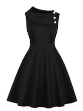 Load image into Gallery viewer, Button Irregular Diagonal Collar 1950S Dress With Pocket