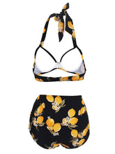 Load image into Gallery viewer, Retro Style Floral Solid Background Two Pieces Bikini Sets