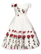 Load image into Gallery viewer, 1950s Rose Embroidery Wedding Dress