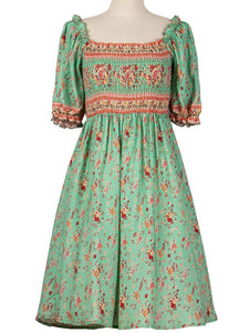 Women's Green Floral Boho Dress Short Ruffle Sleeve Square Neck Beach Dress