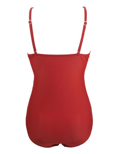 Solid Red Background Retro Style One Piece Backless Trigonal Bikini Set