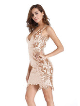 Load image into Gallery viewer, V Neck Sequin Sleeveless Party Dress