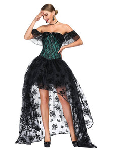 Halloween Costume Gothic Green Vintage Corset Top High Low Skirt For Women