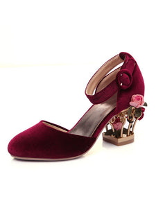 Luxury Velvet Shoes Women Round Toe Gold Metallic Fretwork Floral Heels