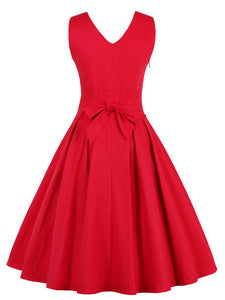 50s Retro Style Solid Color V Neck Dress