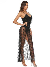 Load image into Gallery viewer, Sequin Strap Transparent Split Evening Dress