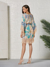 Load image into Gallery viewer, Women's Boho Dress Fringe Floral Printed Midi Length Dress