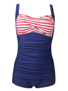 One Piece Dark Blue The Old Glory Design Swimsuit