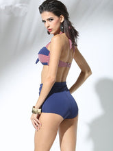 Load image into Gallery viewer,  Stripe Halter Backless Bow Retro Style Two Pieces Swimwear