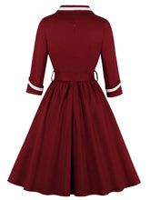 Load image into Gallery viewer, Navy 1950s V Neck Vintage Swing Dress With Belt