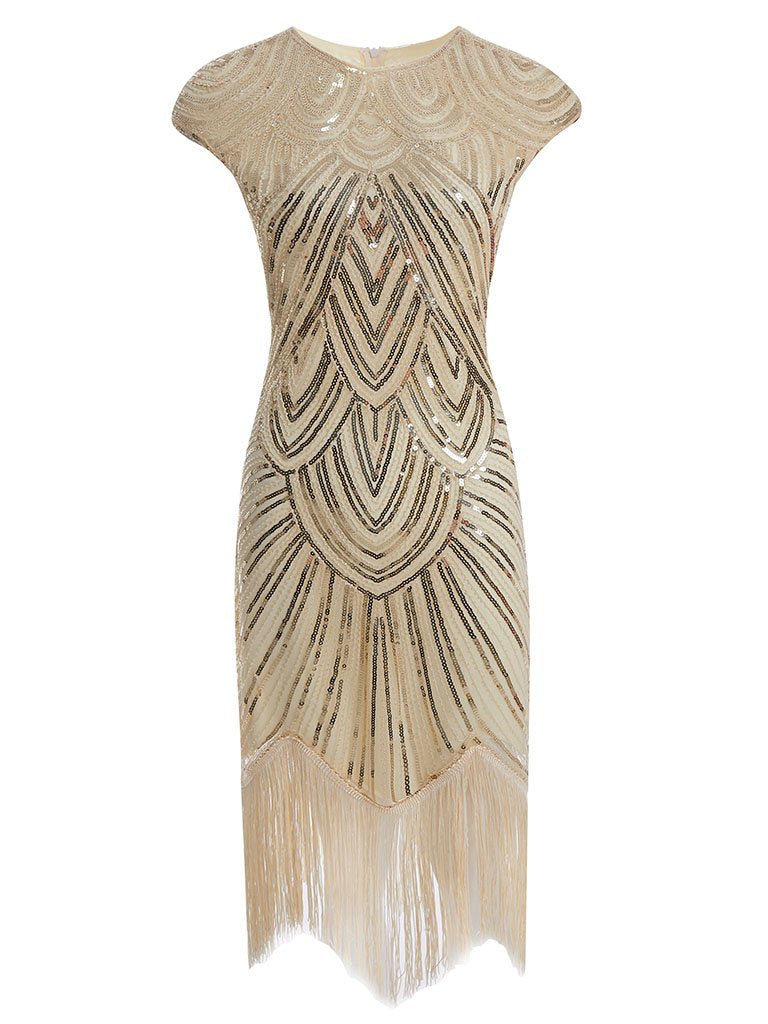 White 1920s Sequined Flapper Dress