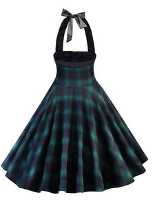 Halter Plaid Zipper Front  A Line Vintage Dress