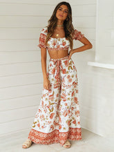 Load image into Gallery viewer, 2 Pieces Boho Outfits Cropped Floral Printed Beach Wear For Women