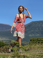 Load image into Gallery viewer, Women's Summer Boho Dress Floral Printed V Neck Beach Maxi Dress