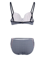 Load image into Gallery viewer, Concise High Waisted Two Piece Striated Triangle Bikini Sets