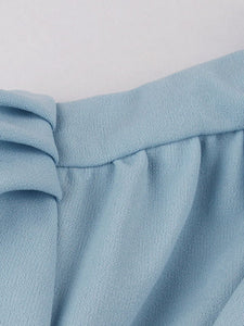 Baby Blue Tie Neck Short Sleeve Pleated A Line Cocktail Vintage Dress