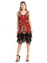 Load image into Gallery viewer, Wine Red 1920s V Neck Sequined Fringed Flapper Dres