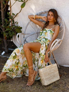 Boho Dress Spaghetti Strap Floral Printed Full Length Beach Dress For Women