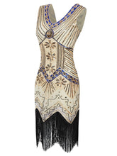 Load image into Gallery viewer, Champagne 1920s Sequined Flapper Dress