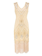Load image into Gallery viewer, 4 Colors 1920s V Neck Sequined Flapper Dress