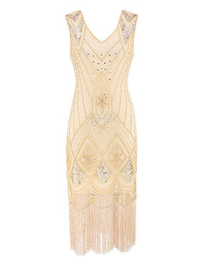 4 Colors 1920s V Neck Sequined Flapper Dress