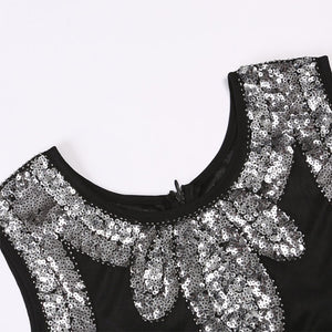 Flapper 1920S Black Sequin Fringed Dress