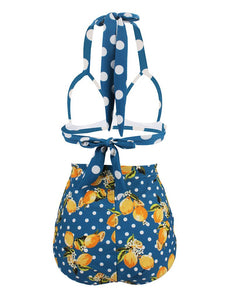 Sexy Classical Vintage Style Dots And Floral Two Pieces Bikini Sets
