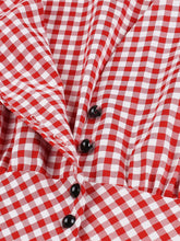 Load image into Gallery viewer,  Red Plaid V Neck 1950S Vintage Dresses