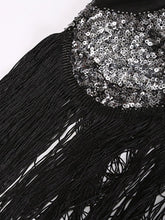 Load image into Gallery viewer, Black 1920S Sequined Fringe Gatsby Flapper Dress