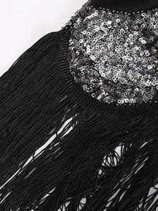 Black 1920S Sequined Fringe Gatsby Flapper Dress