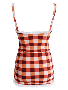 High Waisted Sexy Retro Style Backless Plaid One Piece Bikini