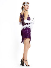 Load image into Gallery viewer, Purple 1920s Sequined Fringed  Flapper Dress