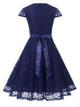 Load image into Gallery viewer, A Line Solid Color Lace Cap Sleeve Vintage Dress