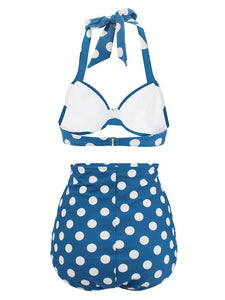 Retro Style Dots Solid Background Two Pieces Bikini Sets