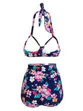 Load image into Gallery viewer, High Waisted Sexy Retro Style Backless Floral Two Pieces Bikini Sets