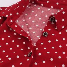 Load image into Gallery viewer, Shirt Collar Long Sleeve Polka Dot Red 50S Dress