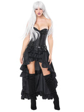 Load image into Gallery viewer, Halloween Costume Steampunk Black Women Vintage Ruffles High Low Corset And Skirt Set