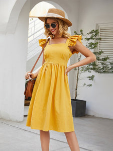 Women's Yellow Bohemian Boho Dress Backless Ruffle Sleeve