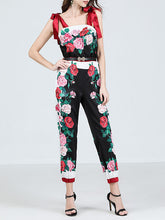 Load image into Gallery viewer, Women's Jumpsuit Rose Print Vintage Rompers