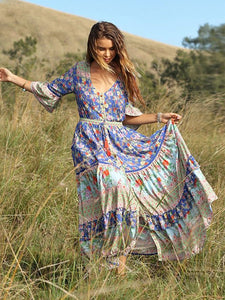 Women's Summer Boho Dress Floral Printed 3/4 Sleeve Beach Maxi Dress