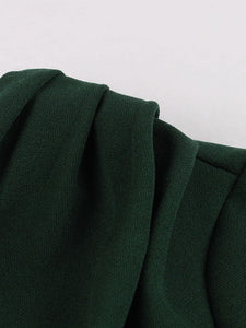 Dark Green V Neck Short Sleeve 50S Vintage Dress